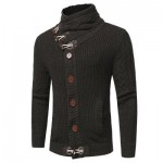 COWL NECK HORN BUTTON SINGLE BREASTED CARDIGAN (DEEP GRAY) L