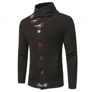 image of COWL NECK HORN BUTTON SINGLE BREASTED CARDIGAN (DEEP GRAY) L