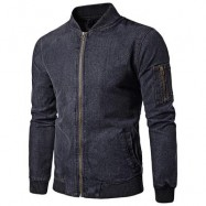 image of RIBBED HEM ZIP UP DENIM JACKET (GRAY) L