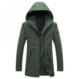 image of CASUAL HOODED LONG SLEEVE ZIPPER MEN JACKET (ARMY GREEN) L