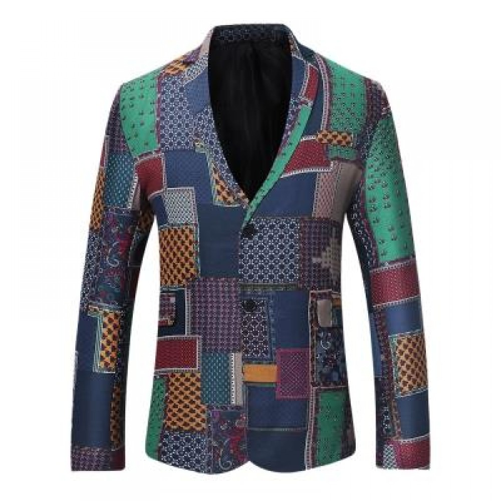 SINGLE BREASTED PATCHWORK LINEN BLAZER (COLORMIX) M
