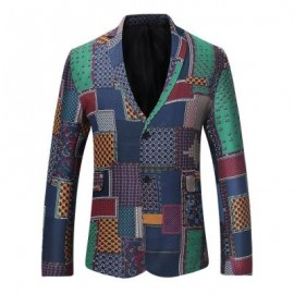 image of SINGLE BREASTED PATCHWORK LINEN BLAZER (COLORMIX) M