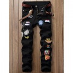ZIPPER FLY CARTOON EMBROIDERED PATCH POCKET RIPPED JEANS (BLACK) 30