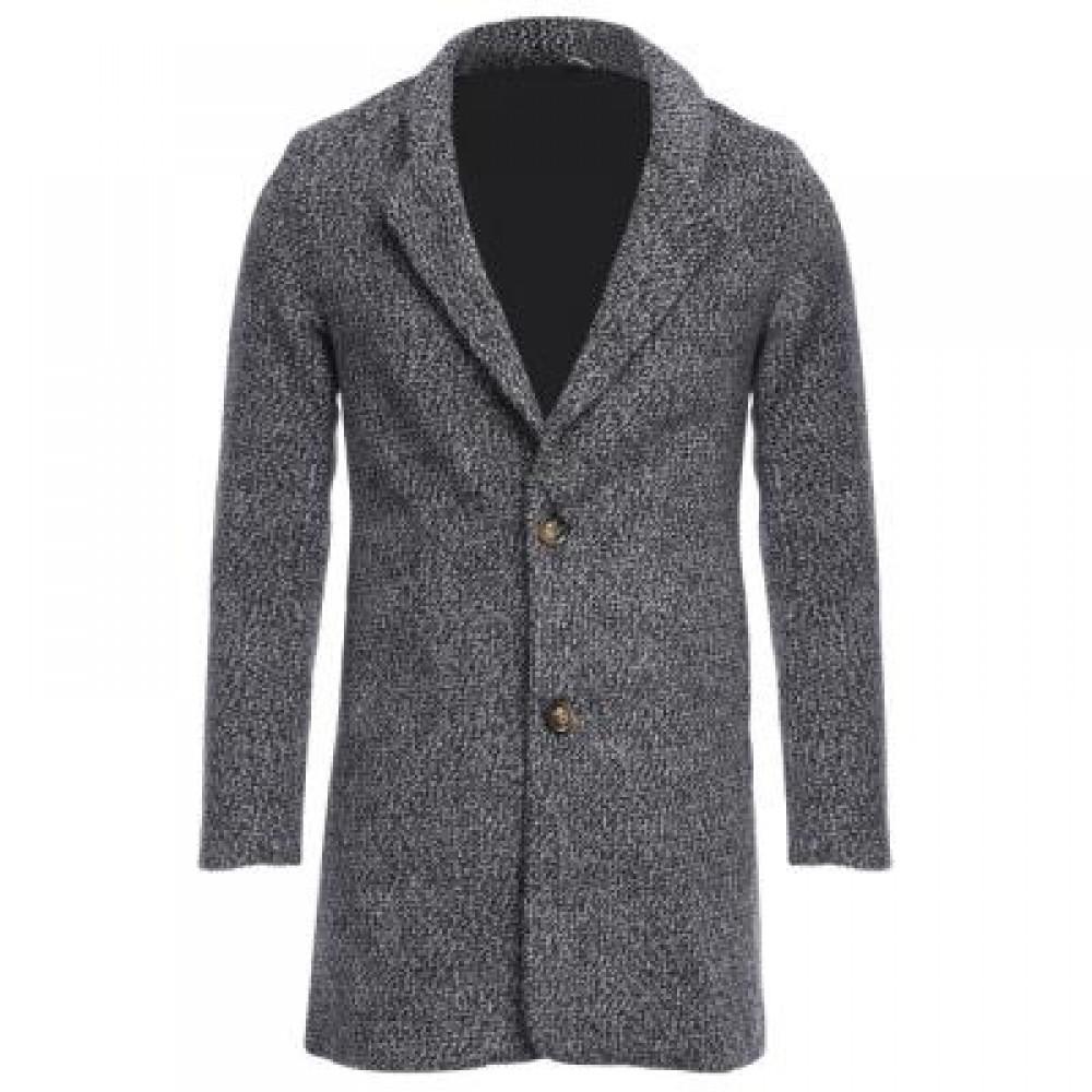 CASUAL TURN DOWN COLLAR MALE WOOLEN CLOTH COAT M