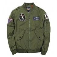image of BADGE PATCHED ZIP UP BOMBER JACKET (ARMY GREEN) L
