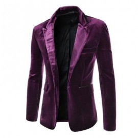 image of FASHION LAPEL POCKET EDGING DESIGN SLIMMING LONG SLEEVE CORDUROY BLAZER FOR MEN (PURPLE) XL