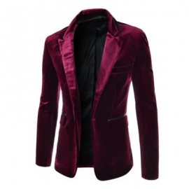image of FASHION LAPEL POCKET EDGING DESIGN SLIMMING LONG SLEEVE CORDUROY BLAZER FOR MEN (WINE RED) L