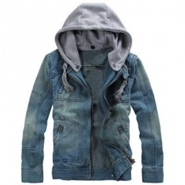 image of ZIPPERED REMOVABLE HOOD DENIM JACKET (DENIM BLUE) 2XL