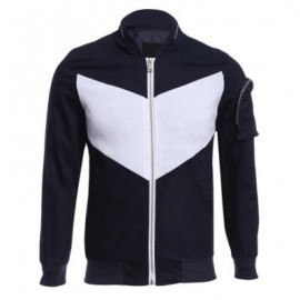 image of CASUAL PATCHWORK ZIPPER DESIGN STAND COLLAR COAT FOR MALE (DEEP BLUE) M