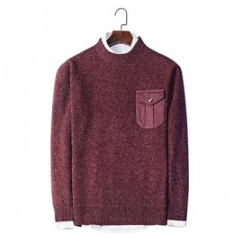 image of TRENDY ROUND COLLAR LONG SLEEVE POCKET KNITTED MEN SWEATER (WINE RED) 3XL
