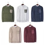 TRENDY ROUND COLLAR LONG SLEEVE POCKET KNITTED MEN SWEATER (WINE RED) 3XL