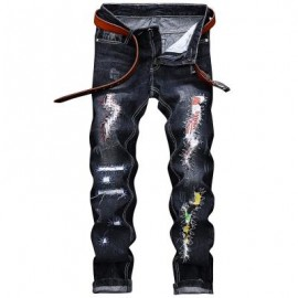 image of STRAIGHT LEG GRAPHIC APPLIQUE INSERT DISTRESSED JEANS (BLACK) 34
