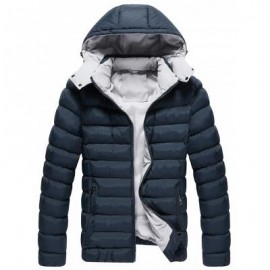 image of DETACHABLE HOOD ZIP UP QUILTED JACKET (CADETBLUE) 5XL