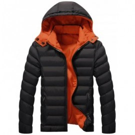 image of DETACHABLE HOOD ZIP UP QUILTED JACKET (BLACK) 5XL