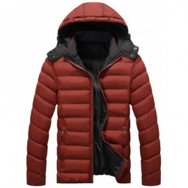 image of DETACHABLE HOOD ZIP UP QUILTED JACKET (DEEP RED) XL