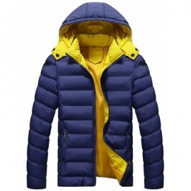 image of DETACHABLE HOOD ZIP UP QUILTED JACKET (BLUE) 3XL