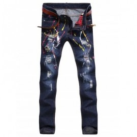image of PAINT SPLATTER BROKEN HOLE JEANS (DEEP BLUE) 38