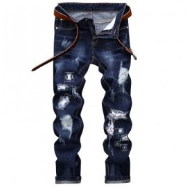 image of STRAIGHT LEG APPLIQUE INSERT DISTRESSED JEANS (DEEP BLUE) 30