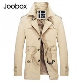 image of JOOBOX CASUAL TURN DOWN COLLAR BELT DESIGN MALE COAT 2XL