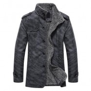 image of STAND COLLAR SINGLE-BREASTED EPAULET EMBELLISHED JACKET (DEEP GRAY) XL
