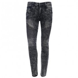 image of CASUAL DRAPE DECORATION MALE SLIM FIT PENCIL JEANS (GRAY) 36