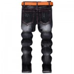 STRAIGHT LEG EMBROIDERY DISTRESSED JEANS (BLACK) 30