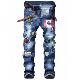 image of FLAG GRAPHIC PRINT STRAIGHT DISTRESSED JEANS (BLUE) 38