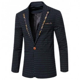 image of STYLISH SPLICED DOT EMBROIDERED LAPEL COLLAR SINGLE BUTTON BLAZER FOR MEN (DEEP GREEN) 2XL