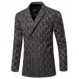 image of NEW LOOK NOTCHED LAPEL COLLAR DOUBLE BREASTED STRIPED BLAZER FOR MEN (GRAY) 2XL