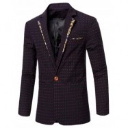 image of STYLISH SPLICED DOT EMBROIDERED LAPEL COLLAR SINGLE BUTTON BLAZER FOR MEN (RED) M