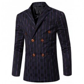 image of NEW LOOK NOTCHED LAPEL COLLAR DOUBLE BREASTED STRIPED BLAZER FOR MEN (DEEP BLUE) 3XL