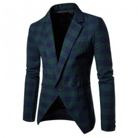 image of NOTCH LAPEL ONE BUTTON CASUAL PLAID BLAZER (GREEN) L