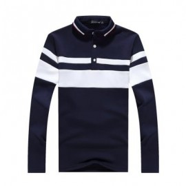 image of FASHION BUSINESS COLOR PLUS VELVET WARM MEN'S LONG-SLEEVED POLO SHIRT MALE T SHIRT (ROYAL) L