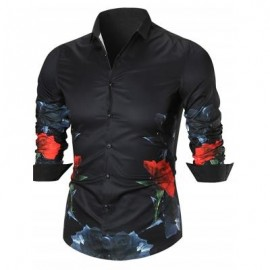 image of BUTTON UP FLOWER PRINTED SHIRT (BLACK) 3XL