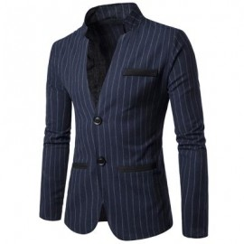 image of TWO BUTTON CASUAL VERTICAL STRIPE BLAZER (CADETBLUE) XL
