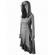 image of PLUS SIZE LACE UP DIP HEM HOODIE (HEATHER GRAY) 2XL