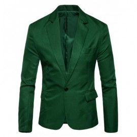 image of ONE BUTTON FLAP POCKET BLAZER (GRASS GREEN) L