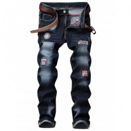 image of GRAPHIC PATCH ZIP FLY STRAIGHT JEANS (PURPLISH BLUE) 38