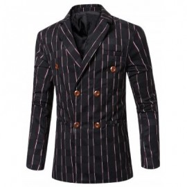 image of NEW LOOK NOTCHED LAPEL COLLAR DOUBLE BREASTED STRIPED BLAZER FOR MEN (BLACK) 2XL