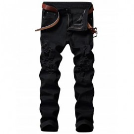image of ZIP FLY STRAIGHT JEANS WITH EXTREME RIPS (BLACK) 42