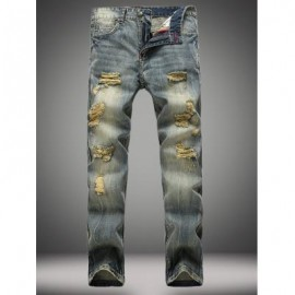 image of VINTAGE STRAIGHT LEG DISTRESSED JEANS (DENIM BLUE) 34