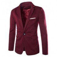 image of LAPEL COTTON BLENDS ONE BUTTON BLAZER (WINE RED) M