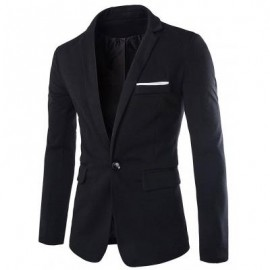 image of LAPEL COTTON BLENDS ONE BUTTON BLAZER (BLACK) XL