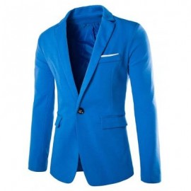 image of LAPEL COTTON BLENDS ONE BUTTON BLAZER (LAKE BLUE) 2XL