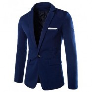 image of LAPEL COTTON BLENDS ONE BUTTON BLAZER (CADETBLUE) 2XL