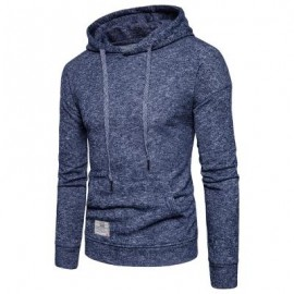 image of KNITTED DROP SHOULDER DRAWSTRING PULLOVER HOODIE (CADETBLUE) L