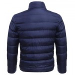 CASUAL SLIM FIT SOLID COLOR MALE STAND COLLAR WARM COAT (DEEP BLUE) L