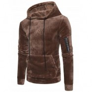 image of KANGAROO POCKET VELVET HOODIE WITH SLEEVE POCKET (COFFEE) M