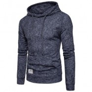 image of KNITTED DROP SHOULDER DRAWSTRING PULLOVER HOODIE (BLACK) XL