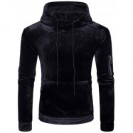 image of KANGAROO POCKET VELVET HOODIE WITH SLEEVE POCKET (BLACK) XL